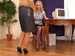 Foot Fetish, Lesbian, Masturbation, Pantyhose