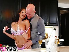 Big Boobs, Brunette, MILF, Kitchen, Fucking