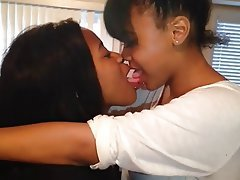Black lesbian french kissing
