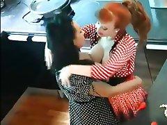 Brunette, Lesbian, Redhead, Stockings