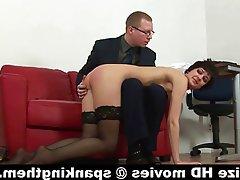 Masturbation, Secretary, Spanking, Stockings