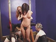 BDSM, Lesbian, Brunette, Group Sex
